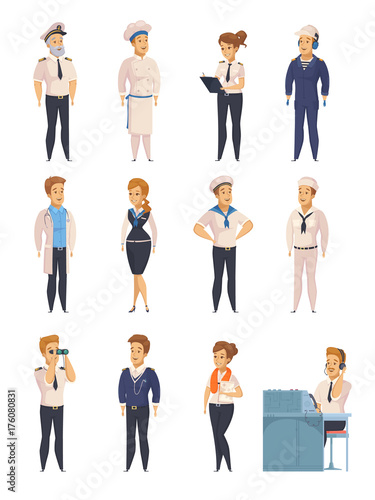 Yacht Ship Cartoon Characters Set Wallpaper Mural