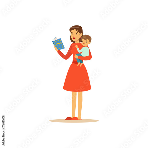 Obraz Super mom character with child, reading book - fototapety do salonu