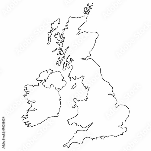 Map Of Uk Black And White.United Kingdom Map Outline Graphic Freehand Drawing On White