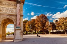 Autumn In The Park Of The Louvre Museum In Paris In France