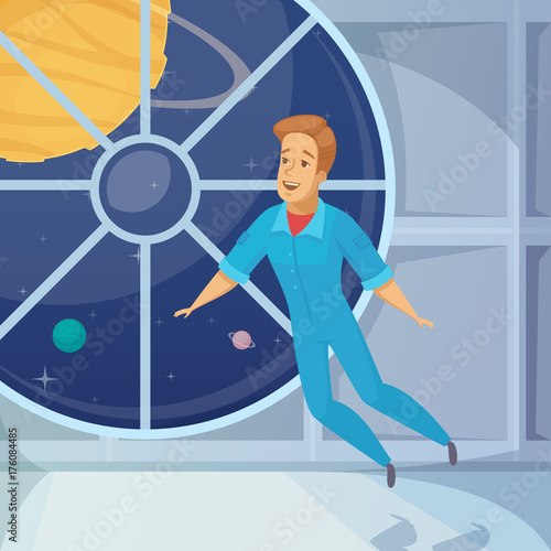 Obraz Astronaut Weightless Space Cartoon Icon  - fototapety do salonu