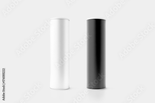 Leinwand Poster Blank black and white cardboard cylinder box mockup with plastic lid, 3d rendering