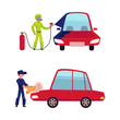Auto mechanic, car service worker, technician painting and washing a car, cartoon vector illustration isolated on white background. Auto mechanic washing a car and painting it with airbrush
