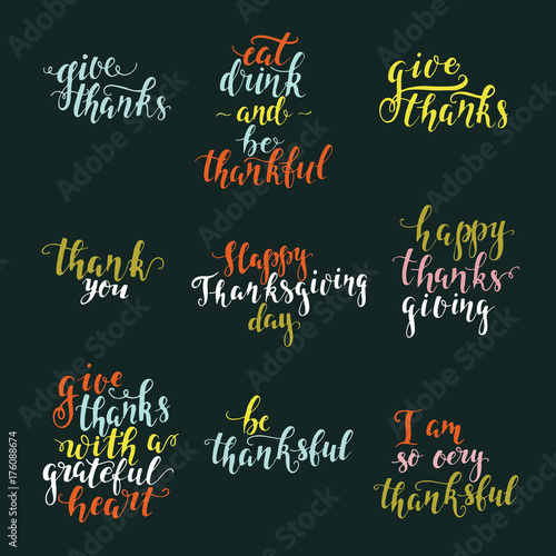 Fotografie, Obraz  Thanksgiving day lettering