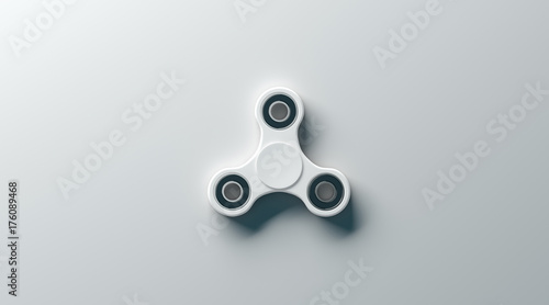 blank white fidget spinner mock up top view 3d rendering clear spinning toy