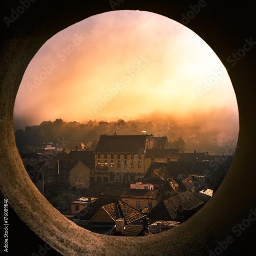Fotografie, Obraz  Pinhole sunrise in Sighisoara