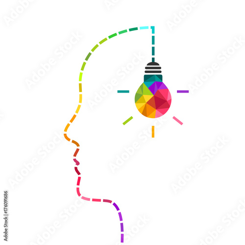 Fotografie, Obraz Creative mind and innovation concept with colorful light bulb and dotted line