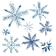 Set Of Watercolor Snowflakes Isolated On White. Christmas Winter Holiday Symbol In A Watercolor Style . Aquarelle Xmas Card For Background, Texture, Wrapper Pattern, Frame Or Border.