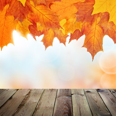 Naklejka na ściany i meble Autumn Background with Empty Wooden Table, Bokeh and Fall Maple Leaves, Vintage Outdoor Template