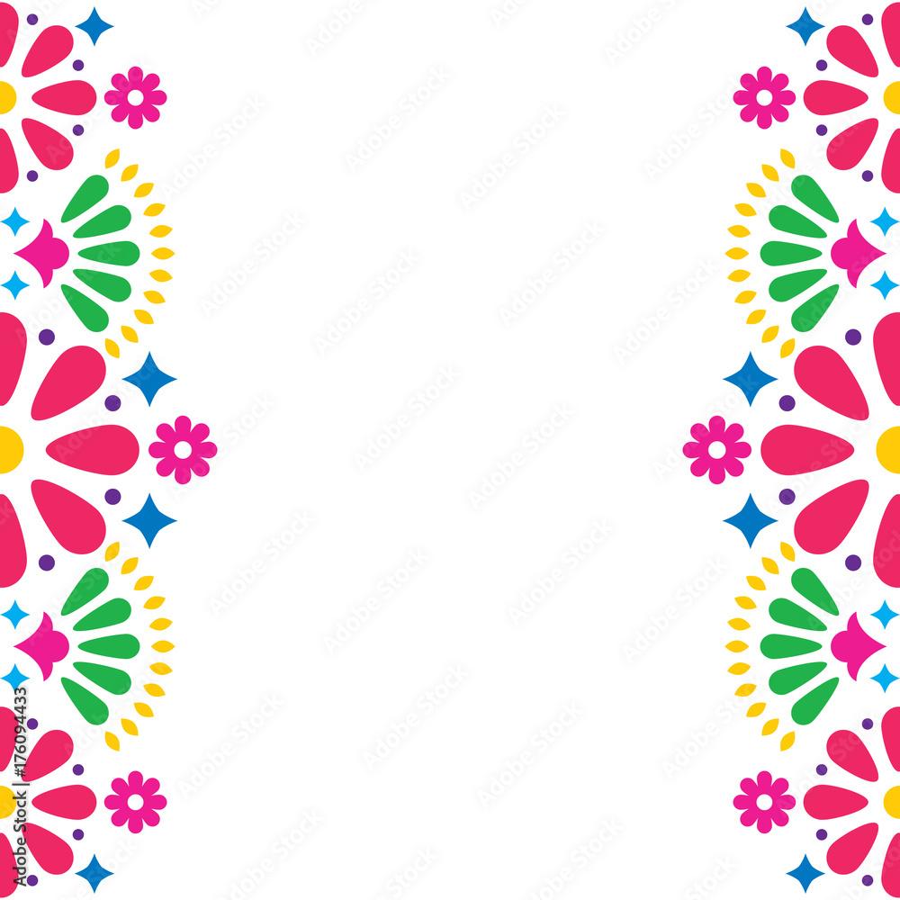 Fotografija  Mexican folk vector wedding or party invitation, greeting card, colorful frame d