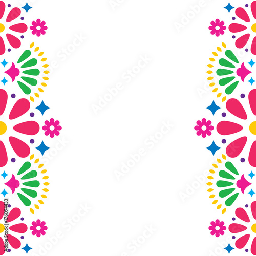 Fotografie, Obraz  Mexican folk vector wedding or party invitation, greeting card, colorful frame d