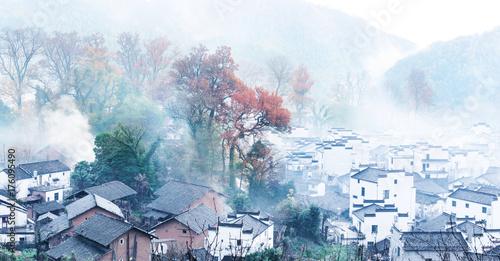 Fotobehang Wit Rural landscape in wuyuan county, jiangxi province, china.