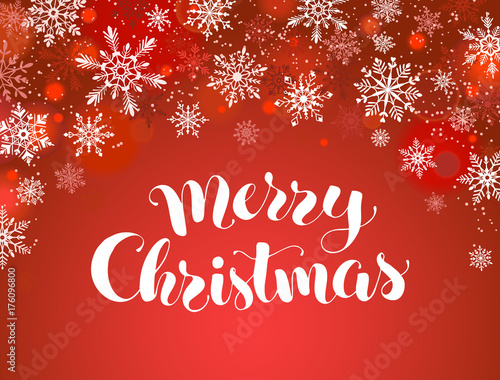 Merry christmas greeting card template modern winter holidays merry christmas greeting card template modern winter holidays lettering with snowflakes on red background m4hsunfo