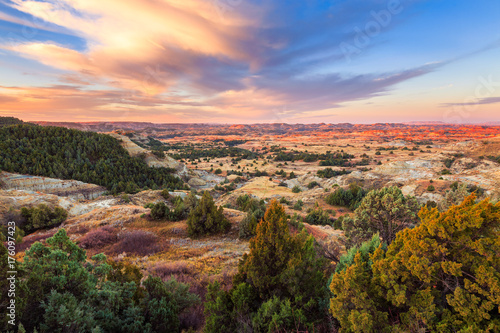 Sunrise over Theodore Roosevelt National Park, North Dakota Wallpaper Mural