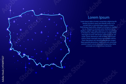 Map Poland from the contours network blue, luminous space stars for banner, post Canvas Print