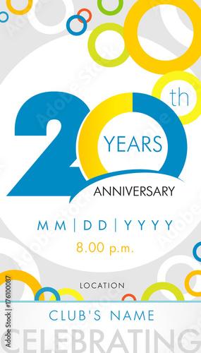 20 Years Anniversary Invitation Card Celebration Template