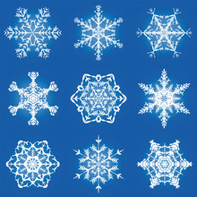 Snowflakes Ornate Pattern - Nine Filigree, Graceful, Delicate Vector Illustration Snowflakes On Square Format Blue Gradient Background.