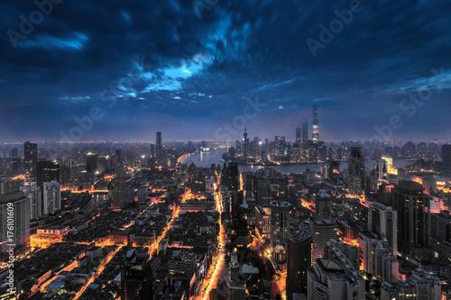 Plakat Shanghai pejzaż miejski i linia horyzontu i wschód słońca