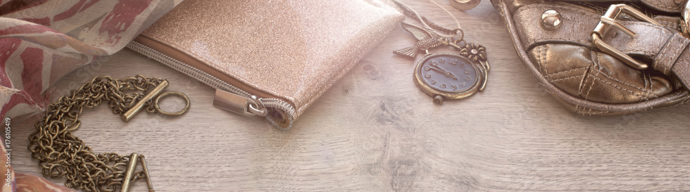 Fototapety, obrazy: Banner Set of fashion accessories for women.