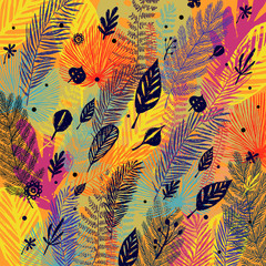 NaklejkaDeciduous, defoliation, multicolor trendy autumn background, leaf fall. Vector botanical illustration, Great design element for congratulation cards, banners.