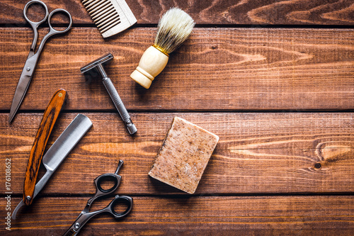 Photo  Tools for cutting beard barbershop top view