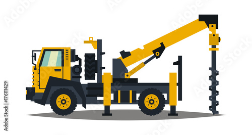 Truck drilling. Yellow, isolation on a white background. Drilling rig. Anchor truck. Construction machinery. Crushing of land. Vector illustration. Flat style