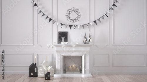 Fotomural Winter, Christmas, New Year interior design with fireplace and decor, white mode