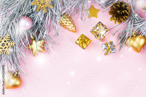 Pastel Christmas Ornaments.Christmas Frame With Fir Branches Conifer Cones Christmas