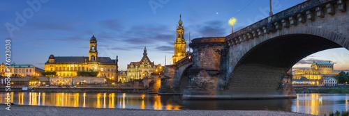 Obraz na dibondzie (fotoboard) wieczorna panorama Drezna, wysoka rozdzielczość