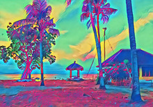 Beach Gazebo On Sunset. Fantastic Seaside Digital Illustration.