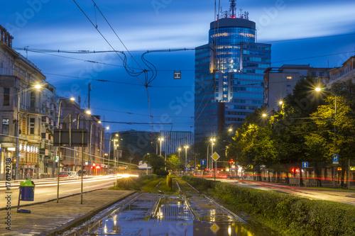 Plakat Nocne zdjęcie przedstawiające centrum Szczecina w Polsce