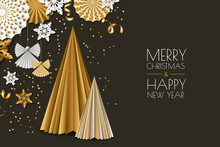 Merry Christmas, New Year Greeting Card. Vector Golden Paper Decoration Snowflakes, Christmas Tree, Angels.
