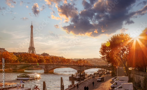 Plakat Paris with Eiffel Tower against colorful sunset in France