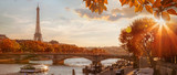Fototapeta Fototapety Paryż - Paris with Eiffel Tower against autumn leaves in France