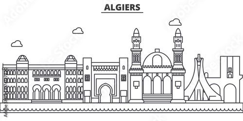 Fotografiet Algiers architecture line skyline illustration