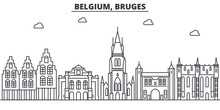 Belgium, Bruges Architecture Line Skyline Illustration. Linear Vector Cityscape With Famous Landmarks, City Sights, Design Icons. Editable Strokes