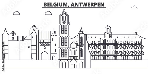 Keuken foto achterwand Antwerpen Belgium, Antwerpen architecture line skyline illustration. Linear vector cityscape with famous landmarks, city sights, design icons. Editable strokes