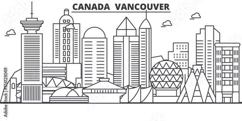Canada, Vancouver architecture line skyline illustration Canvas Print