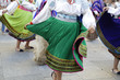 Leinwanddruck Bild - Woman dancing and wearing the traditional folk costume from Ecuador, South America