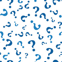 Question Mark Seamless Pattern . Vector Seamless Pattern With Question Marks. Monochrome Hipster Background.