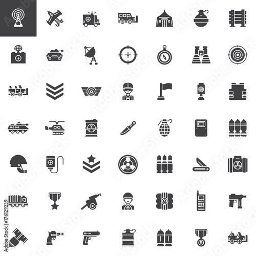 Military Equipment Vector Icons Set Modern Solid Symbol Collection