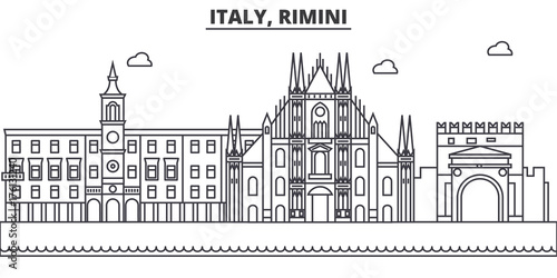 Foto op Plexiglas Antwerpen Italy, Rimini architecture line skyline illustration. Linear vector cityscape with famous landmarks, city sights, design icons. Editable strokes