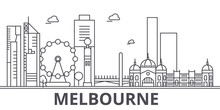 Melbourne Architecture Line Skyline Illustration. Linear Vector Cityscape With Famous Landmarks, City Sights, Design Icons. Editable Strokes