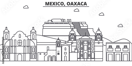 Cuadros en Lienzo Mexico, Oaxaca architecture line skyline illustration