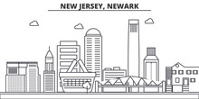 New Jersey, Newark Architecture Line Skyline Illustration. Linear Vector Cityscape With Famous Landmarks, City Sights, Design Icons. Editable Strokes