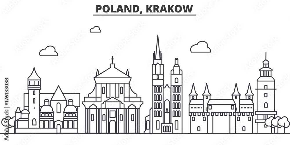 Fototapety, obrazy: Poland, Krakow architecture line skyline illustration. Linear vector cityscape with famous landmarks, city sights, design icons. Editable strokes
