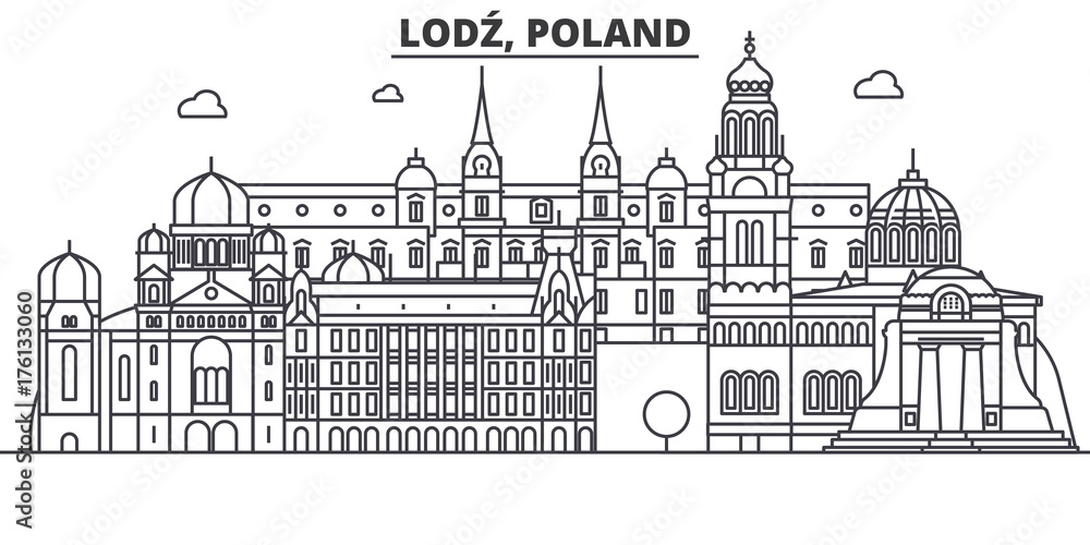 Fototapeta Poland, Lodz architecture line skyline illustration. Linear vector cityscape with famous landmarks, city sights, design icons. Editable strokes