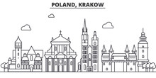 Poland, Krakow Architecture Line Skyline Illustration. Linear Vector Cityscape With Famous Landmarks, City Sights, Design Icons. Editable Strokes