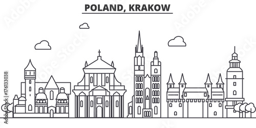 Fototapeta Poland, Krakow architecture line skyline illustration. Linear vector cityscape with famous landmarks, city sights, design icons. Editable strokes obraz