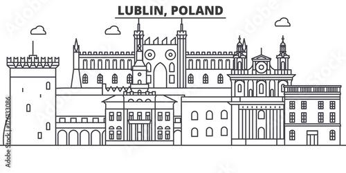Obraz Poland, Lublin architecture line skyline illustration. Linear vector cityscape with famous landmarks, city sights, design icons. Editable strokes - fototapety do salonu